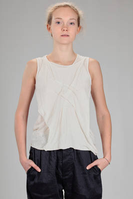 hip length tank top in jersey of flamed linen  - 161
