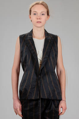 hip length waistcoat in cotton and ramié canvas with vertical lines, cotton lined  - 161