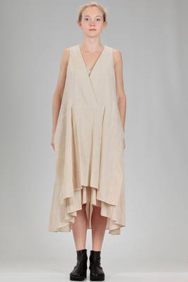 calf length dress in washed canvas of cotton and linen on a base in lighter canvas of cotton and linen  - 161