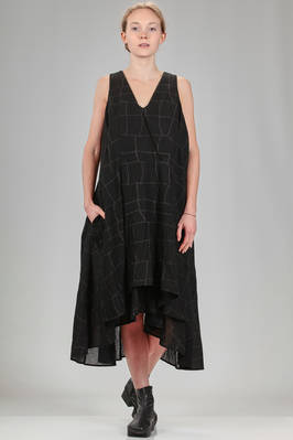 calf length dress in cotton crêpe, linen and viscose twisted in thin squares  - 161