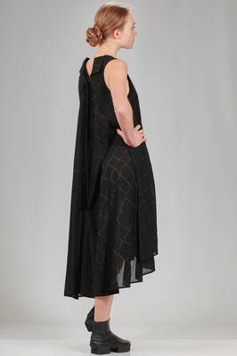calf length dress in cotton crêpe, linen and viscose twisted in thin squares - FORME D' EXPRESSION