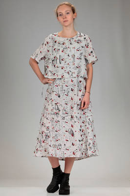 calf length dress in cupro canvas with print of stylized Miaoran team and multicolour embroidery  - 346