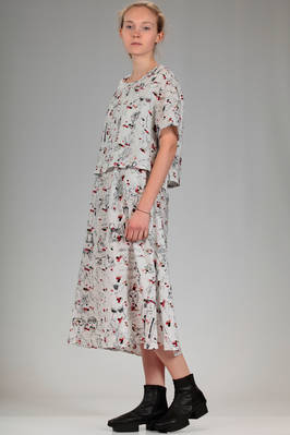calf length dress in cupro canvas with print of stylized Miaoran team and multicolour embroidery - MIAORAN