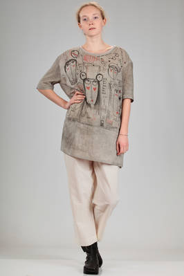 wide calf length tunic in washed cotton canvas with a shaded base and print of stylized Miaoran team  - 346