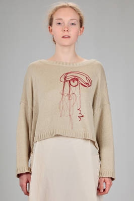 short and wide sweater in cotton and silk knitting with embroidery on the front  - 346