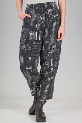 wide trousers in cupro canvas with print of stylized Miaoran team  - 346