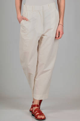 wide trousers in wrinkled biological cotton canvas  - 346