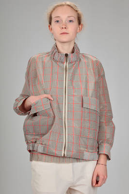 short blouson in crisp polyamide and nylon canvas with glen plaid effect  - 346
