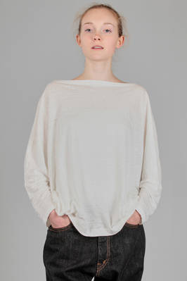 hip length t-shirt in flamed linen jersey  - 334