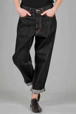 5 pockets jeans in 15 ounces black denim in Japanese cotton  - 334