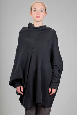 long, asymmetrical and wide sweater in cotton knitted fabric  - 187