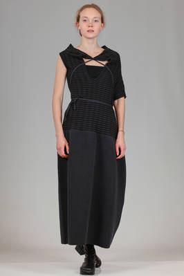long dress in two-tone horizontal and woven cotton knitted fabric  - 187