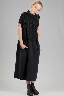 long dress in two-tone horizontal and woven cotton knitted fabric - GUSTAVO LINS