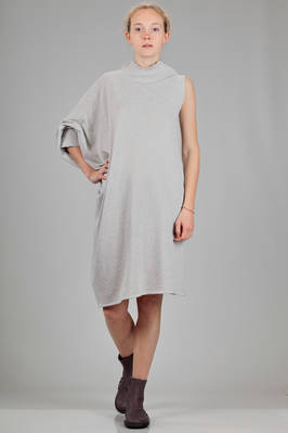 asymmetrical and wide dress in cotton stockinette stitch and ribbed knit  - 187