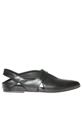 ballerina shoes with pointed toes in soft cowhide leather  - 350