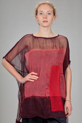 hip length sweater in silk chiffon with felted pattern on the front of wool that has a 'rothko' effect  - 344