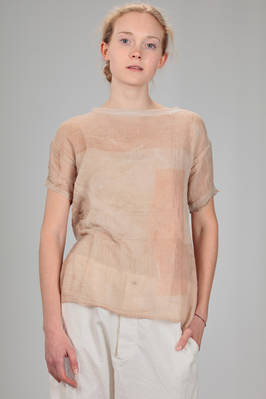 hip length sweater in embossed cotton gauze with tone on tone felted pattern of wool and silk  - 344