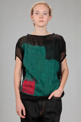 hip length sweater in silk chiffon with bicolour felted square pattern on the front  - 344