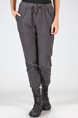 straight trousers cotton moleskin with lateral strap in contrasting color  - 351