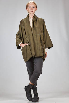 long and wide jacket in cotton canvas with visible knots  - 351