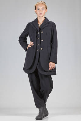 long and waisted jacket in wool gabardine padded with polyester wadding, cotton lined  - 354