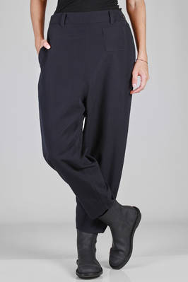 pantalone morbido in gabardine di lana, foderato in cupro - BASE MARK