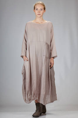 wide and long dress in wool jersey with contrasting colour bottom square  - 326
