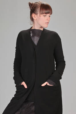 long cardigan in stockinette stitch of wool, viscose and polyamide - BOBOUTIC