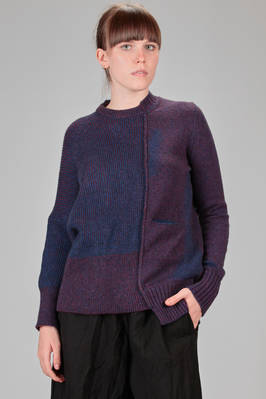 long and asymmetrical sweater in stockinette stitch and bicoloured ribbed knitting with shaded areas with a 'sprayed' iridescent colour effect of wool, camel and polyamide  - 227