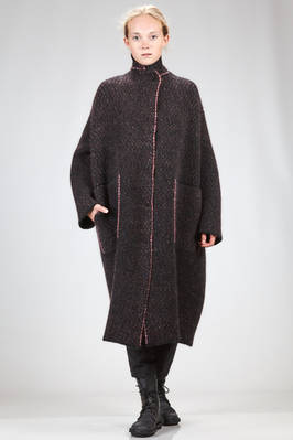 oversized long coat in double knitting of pimpled wool, yak, polyamide, mohair and elastane  - 227