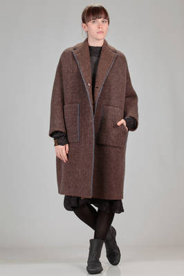 calf length coat in double knitting of pimpled wool, yak, polyamide, mohair and elastane  - 227