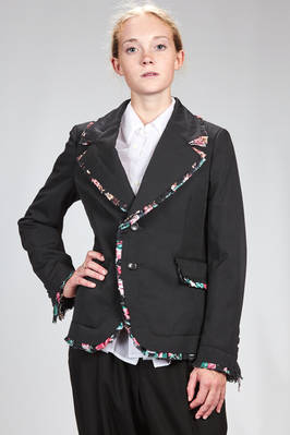 man jacket in wool gabardine with padded effect and floral rouche of polyester georgette  - 48