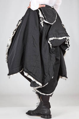 wide 'sculpture' skirt in washed techno polyester and double on raw cut cotton and nylon parts - COMME DES GARÇONS