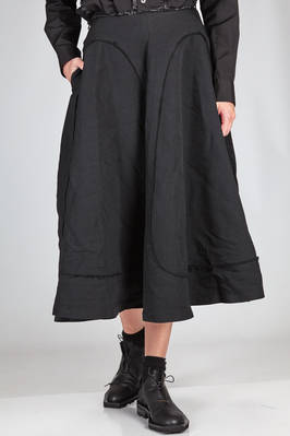 longuette skirt in washed techno polyester with raw cut borders  - 48