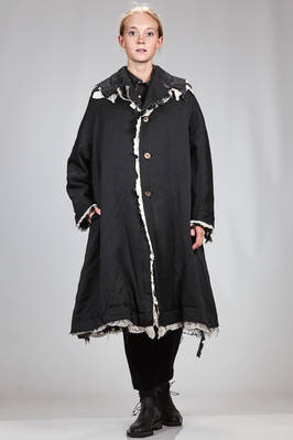 calf length wide coat in washed polyester satin and padded with layered borders of cotton and polyester  - 48