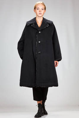 knee length wide coat in very soft angora and wool cloth  - 48