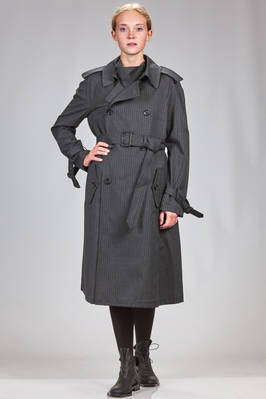 trench/long dress in striped wool and polyester on the front and wool knitting on the back  - 74