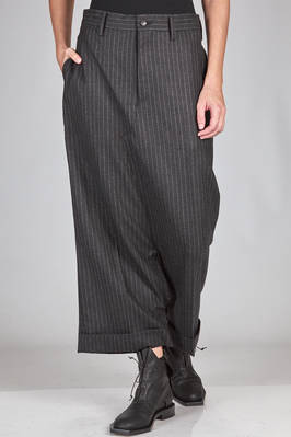 wide trousers in striped wool and rayon, cupro lined  - 74