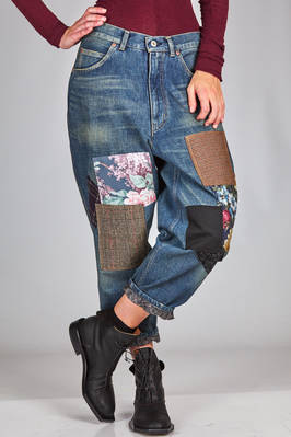 5 pockets jeans in aged cotton denim with irregular patches  - 74