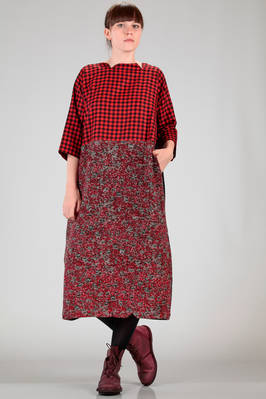 wide longuette dress with patchwork of different woollen fabrics  - 195
