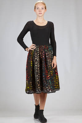 knee length dress with the bodice in ribbed wool knitting and the skirt with three layers of embossed silk voile with multicolor print  - 195