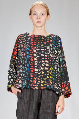 wide hip length shirt in hand dry wool crêpe with multicolor print  - 195