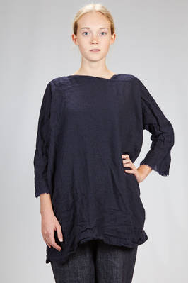 wide, above the knee tunic in melange washed wool gauze  - 195