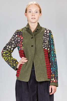 hip length jacket, doubled: one side in melange wool natté and the other in multicolor silk crêpe de chine and washed wool vichy  - 195
