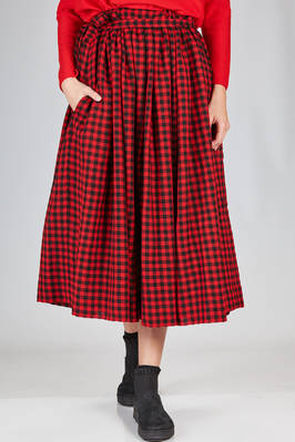 wide longuette skirt in wool vichy on a base of cotton voile in solid color  - 195