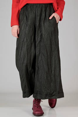 wide trousers in washed and wrinkled woollen cloth, melange  - 195