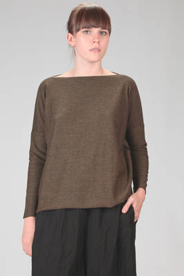 wide hip length sweater in melange knitted merinos wool  - 195