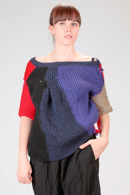 short sweater in garter stitch knitted wool and multicolour seam squares  - 195