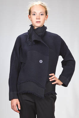 hip length 'sculpture' jacket in steam stretch polyester, wool and polyurethane plissé with narrow tone on tone horizontal pleats, shaped as waves  - 47