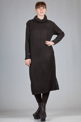 calf length dress in acrylic knitting and in cotton and nylon canvas  - 121